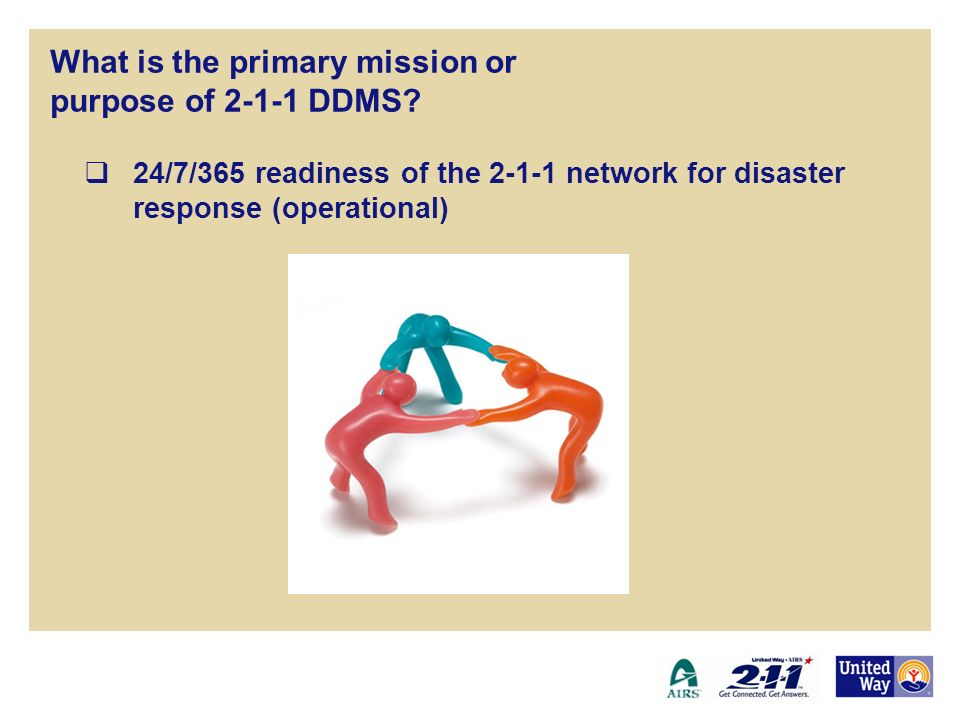 24/7/365 readiness of the 2-1-1 network for disaster response (operational) 2-1-1 Disaster Data Management System What is the primary mission or purpose of 2-1-1 DDMS