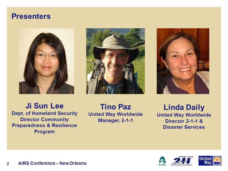 Presenters Linda Daily United Way Worldwide Director 2-1-1 & Disaster Services AIRS Conference – New Orleans 2 Ji Sun Lee Dept.