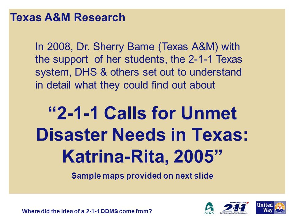 2-1-1 Calls for Unmet Disaster Needs in Texas: Katrina-Rita, 2005 Sample maps provided on next slide Texas A&M Research Where did the idea of a 2-1-1 DDMS come from.
