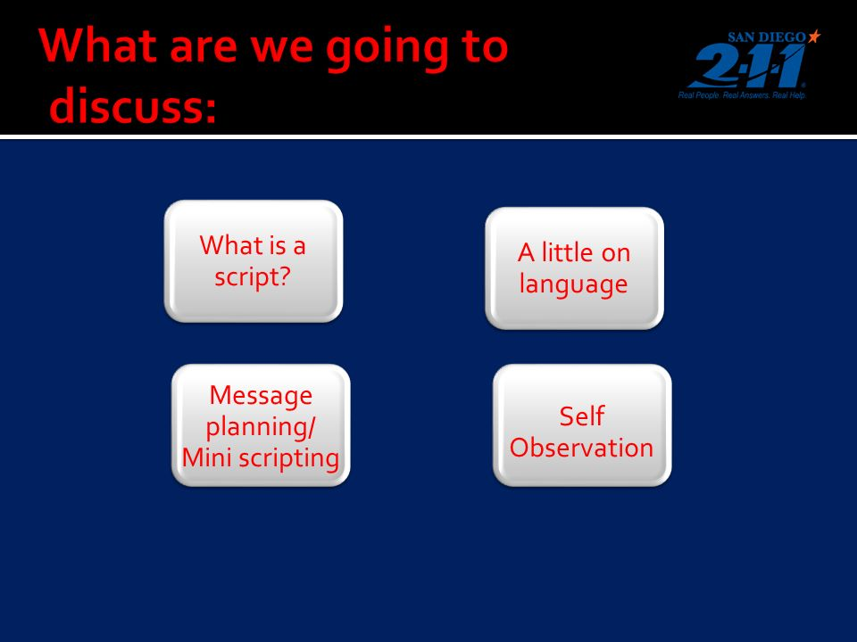What is a script A little on language Message planning/ Mini scripting Self Observation
