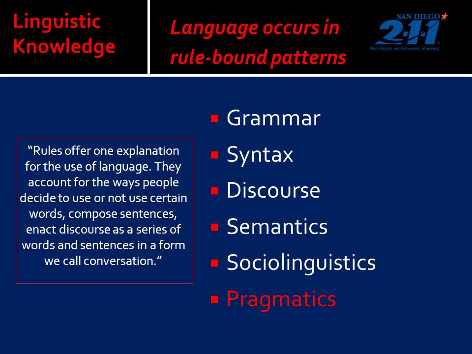 Linguistic Knowledge Rules offer one explanation for the use of language.