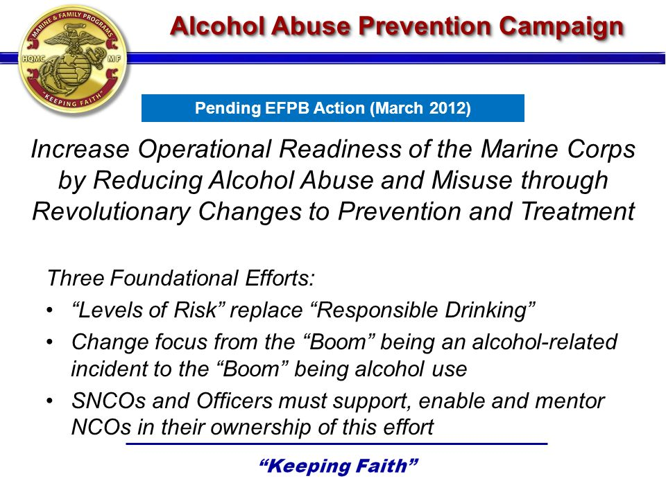 Alcohol Abuse Prevention Campaign Increase Operational Readiness of the Marine Corps by Reducing Alcohol Abuse and Misuse through Revolutionary Changes to Prevention and Treatment Three Foundational Efforts: Levels of Risk replace Responsible Drinking Change focus from the Boom being an alcohol-related incident to the Boom being alcohol use SNCOs and Officers must support, enable and mentor NCOs in their ownership of this effort Pending EFPB Action (March 2012)