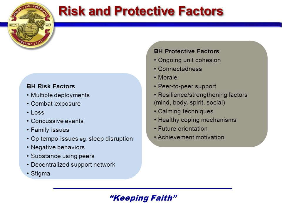 BH Risk Factors Multiple deployments Combat exposure Loss Concussive events Family issues Op tempo issues eg.