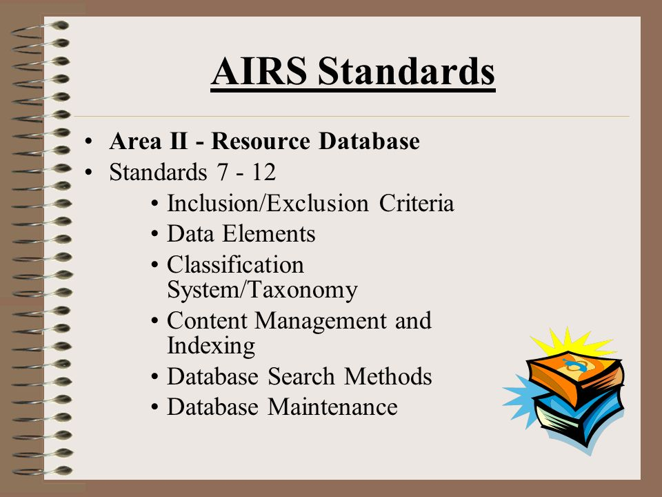 AIRS Standards Area II - Resource Database Standards 7 - 12 Inclusion/Exclusion Criteria Data Elements Classification System/Taxonomy Content Management and Indexing Database Search Methods Database Maintenance