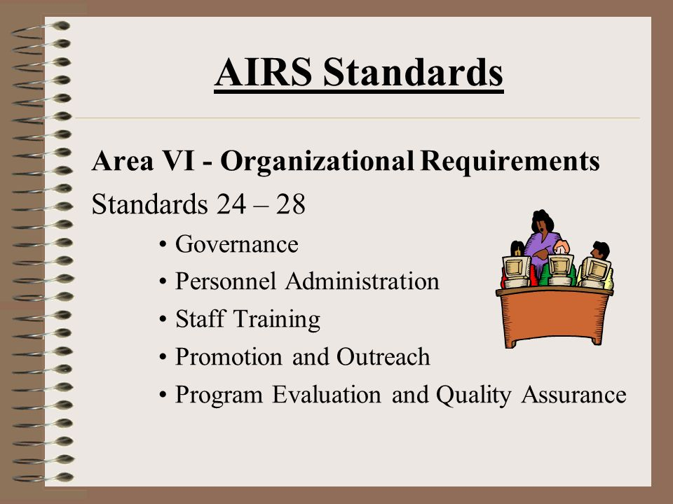AIRS Standards Area VI - Organizational Requirements Standards 24 – 28 Governance Personnel Administration Staff Training Promotion and Outreach Program Evaluation and Quality Assurance
