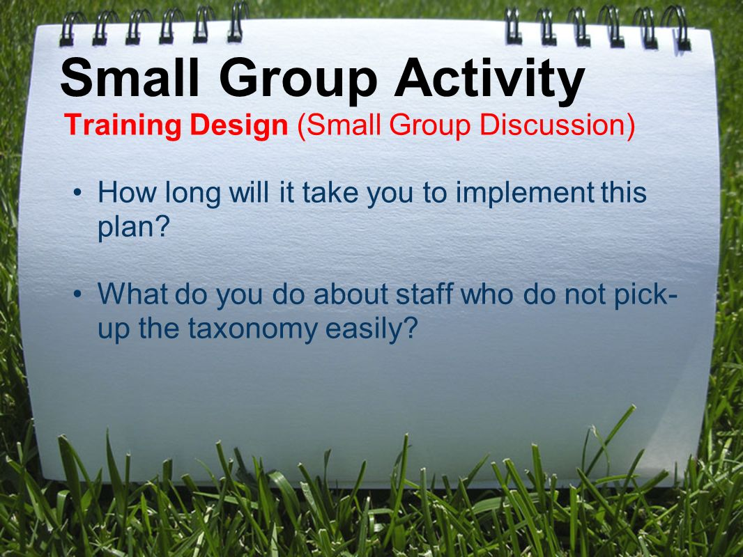 Small Group Activity Training Design (Small Group Discussion) How long will it take you to implement this plan.