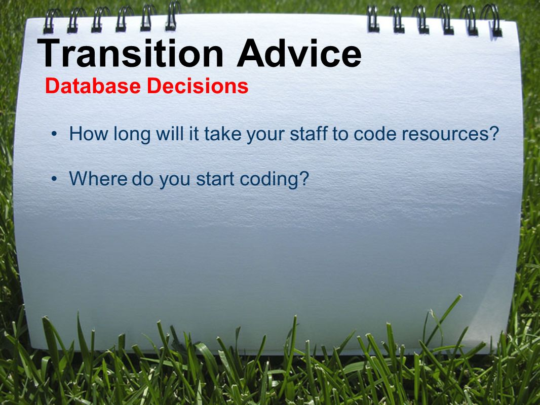 Transition Advice Database Decisions How long will it take your staff to code resources.