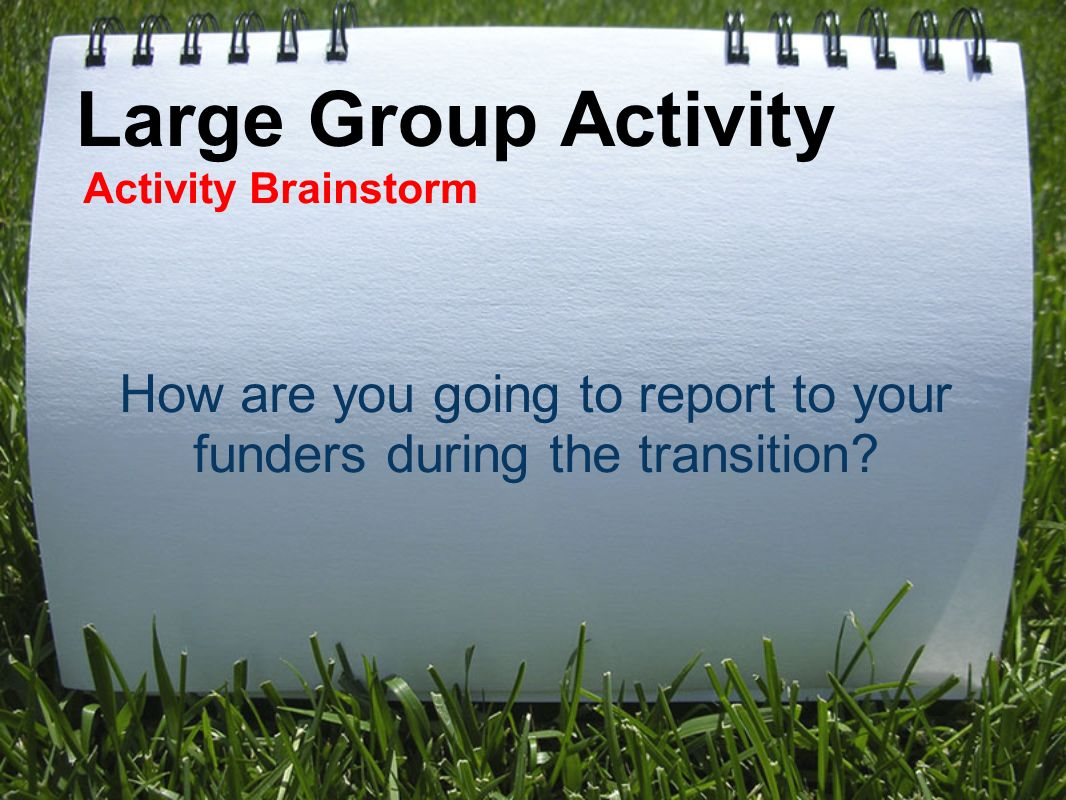 Large Group Activity Activity Brainstorm How are you going to report to your funders during the transition