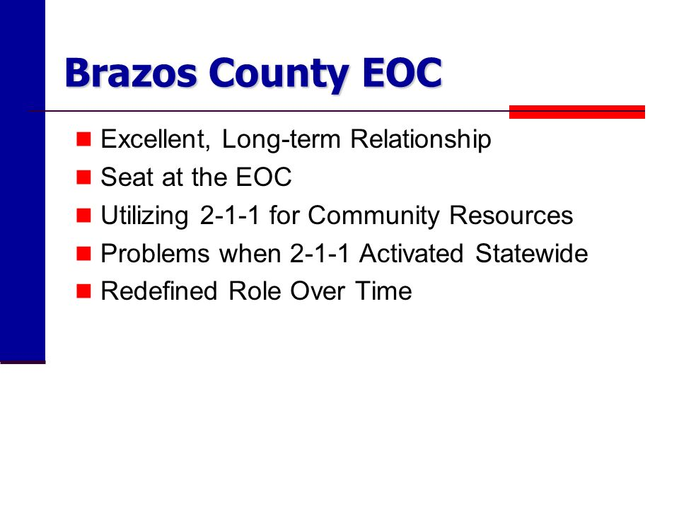 Brazos County EOC Excellent, Long-term Relationship Seat at the EOC Utilizing for Community Resources Problems when Activated Statewide Redefined Role Over Time