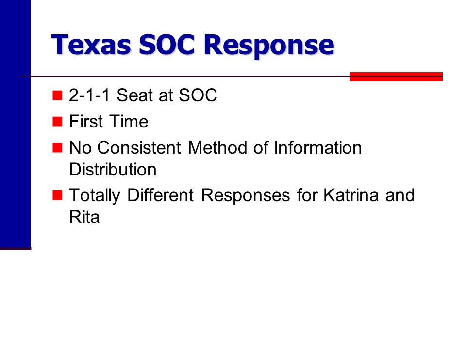 Texas SOC Response Seat at SOC First Time No Consistent Method of Information Distribution Totally Different Responses for Katrina and Rita