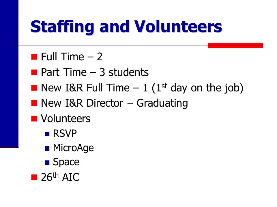 Staffing and Volunteers Full Time – 2 Part Time – 3 students New I&R Full Time – 1 (1 st day on the job) New I&R Director – Graduating Volunteers RSVP MicroAge Space 26 th AIC