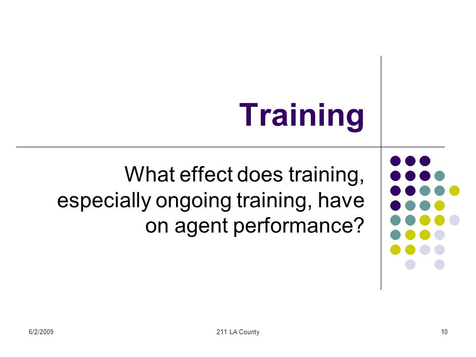6/2/2009211 LA County10 Training What effect does training, especially ongoing training, have on agent performance