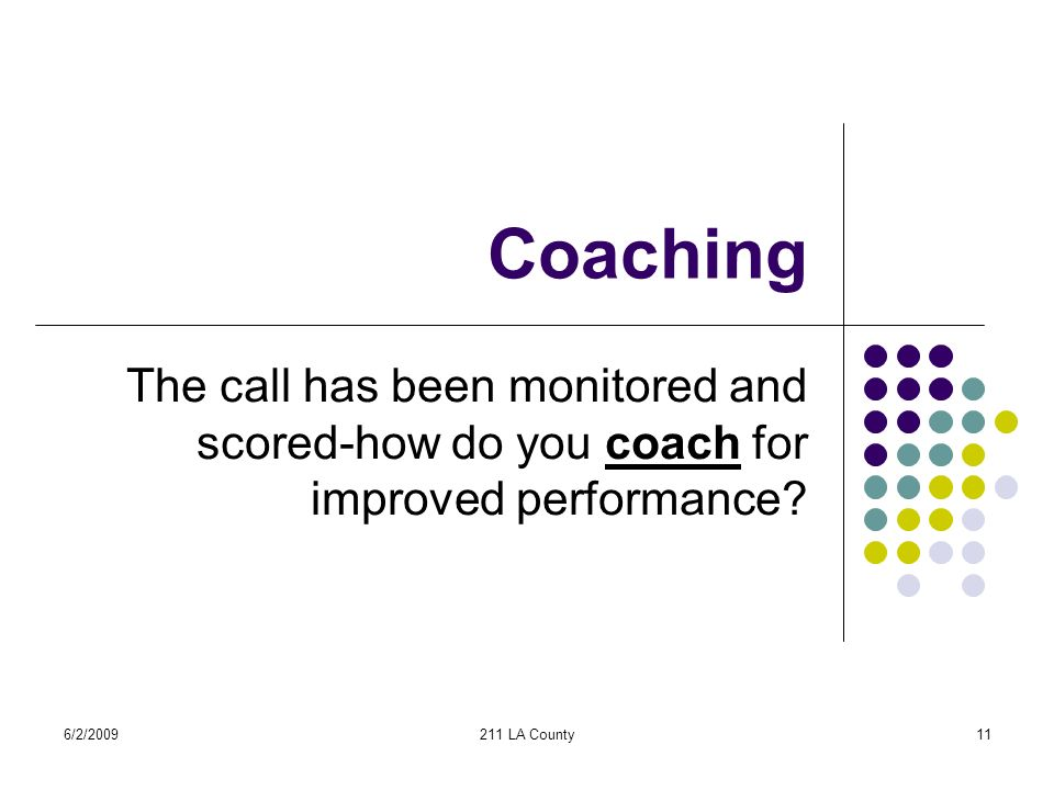 6/2/2009211 LA County11 Coaching The call has been monitored and scored-how do you coach for improved performance