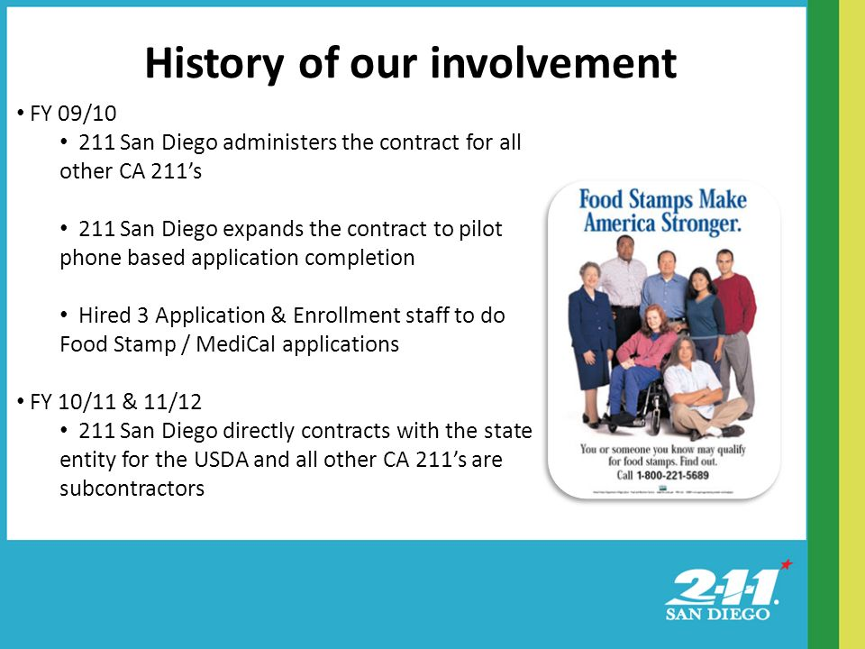 History of our involvement FY 09/ San Diego administers the contract for all other CA 211s 211 San Diego expands the contract to pilot phone based application completion Hired 3 Application & Enrollment staff to do Food Stamp / MediCal applications FY 10/11 & 11/ San Diego directly contracts with the state entity for the USDA and all other CA 211s are subcontractors