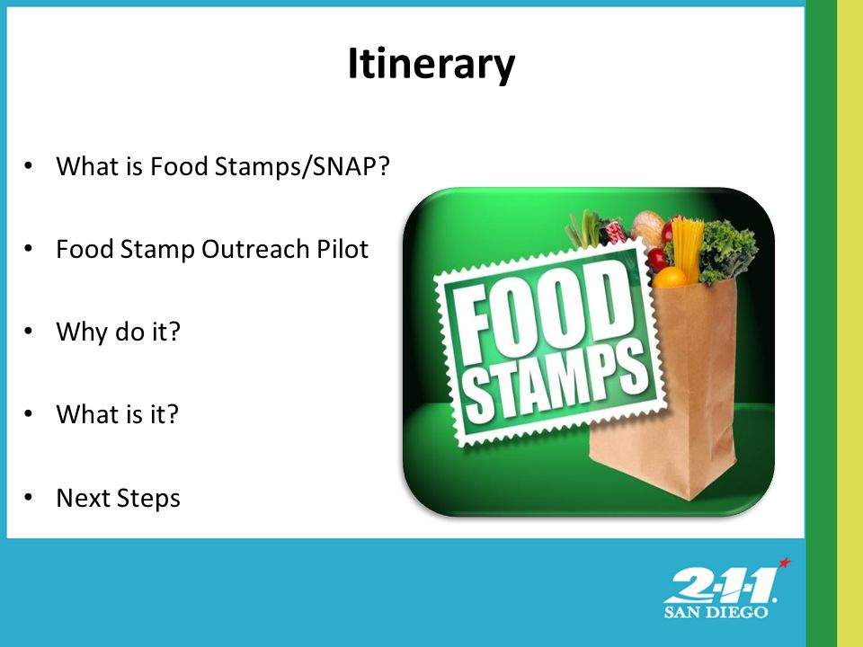 What is Food Stamps/SNAP Food Stamp Outreach Pilot Why do it What is it Next Steps Itinerary