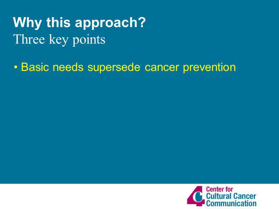 Why this approach Three key points Basic needs supersede cancer prevention