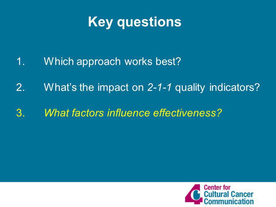 1. Which approach works best. 2. Whats the impact on 2-1-1 quality indicators.
