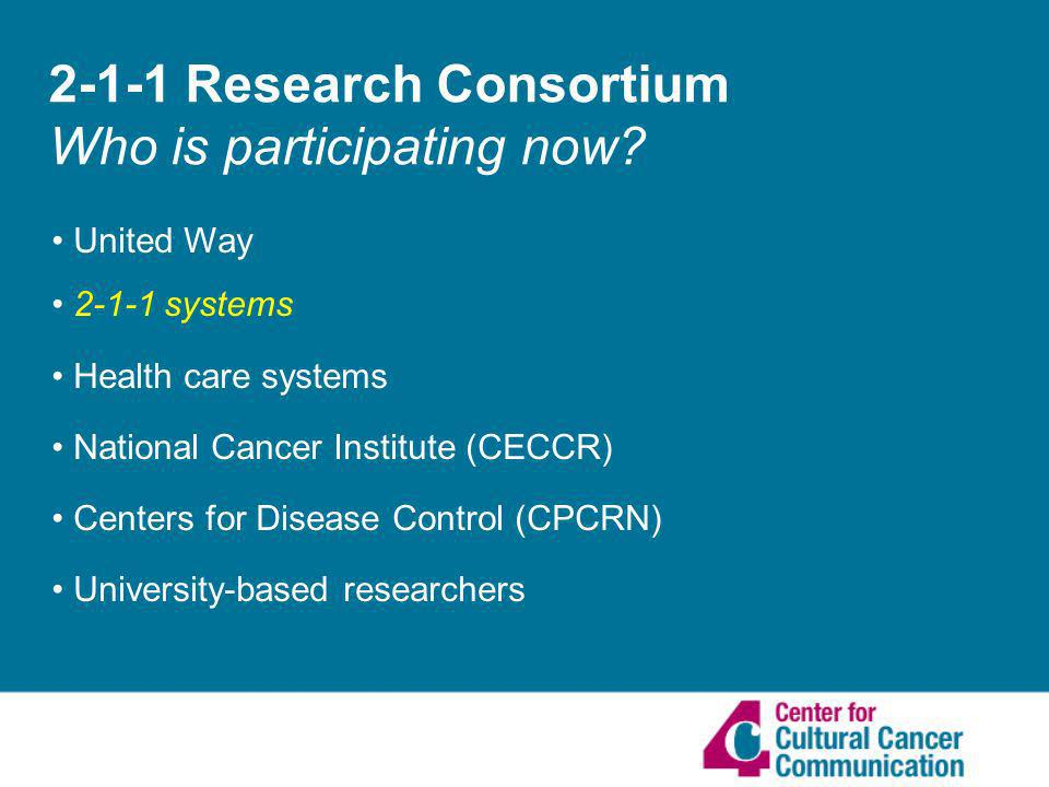 2-1-1 Research Consortium Who is participating now.