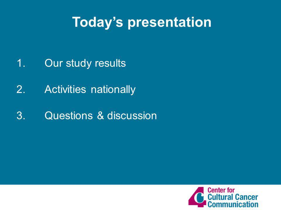 1. Our study results 2. Activities nationally 3. Questions & discussion Todays presentation