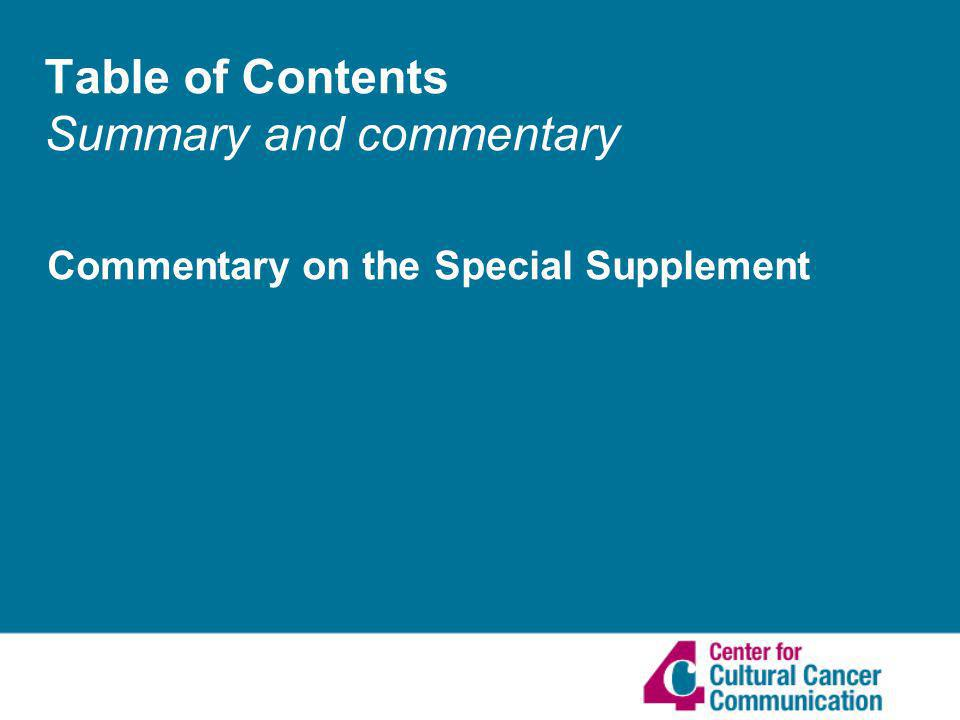 Table of Contents Summary and commentary Commentary on the Special Supplement