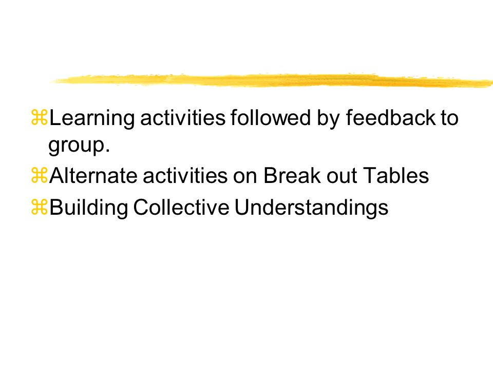 zLearning activities followed by feedback to group.