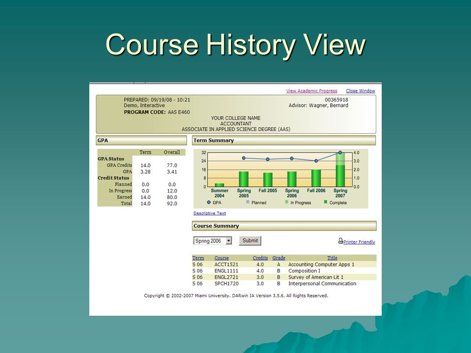 Course History View