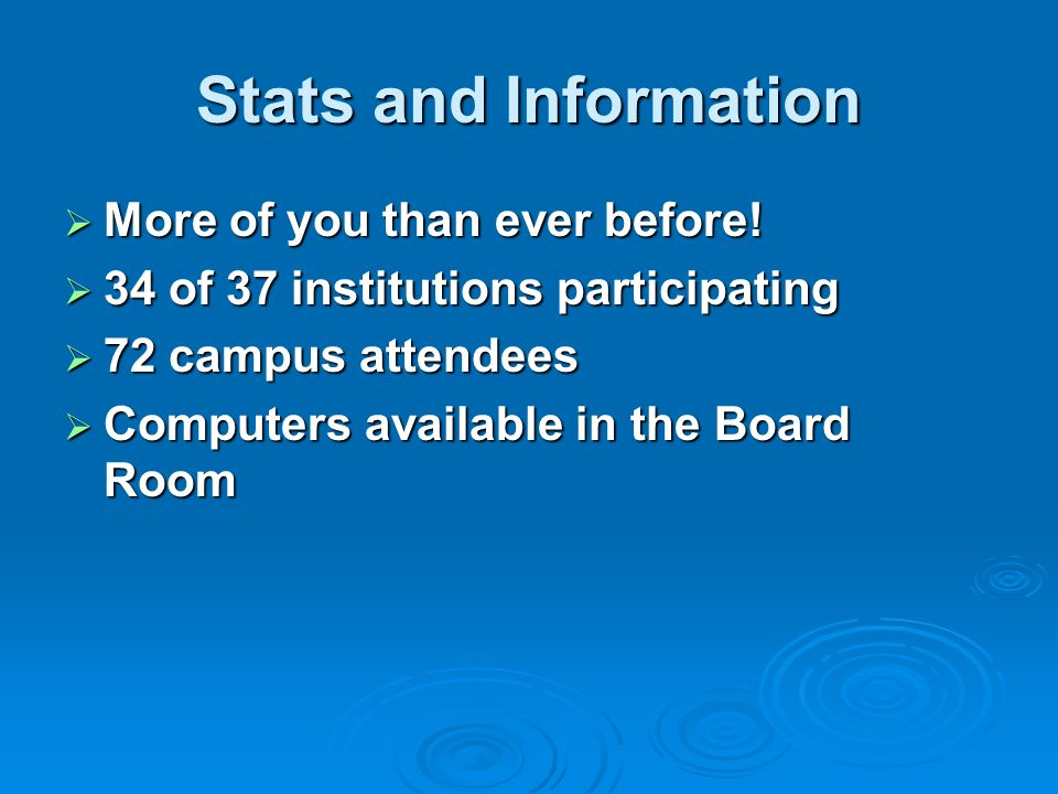 Stats and Information More of you than ever before.