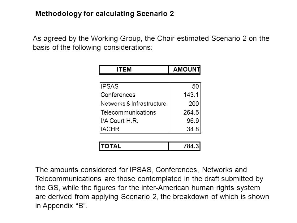 Methodology for calculating Scenario 2 As agreed by the Working Group, the Chair estimated Scenario 2 on the basis of the following considerations: The amounts considered for IPSAS, Conferences, Networks and Telecommunications are those contemplated in the draft submitted by the GS, while the figures for the inter-American human rights system are derived from applying Scenario 2, the breakdown of which is shown in Appendix B.