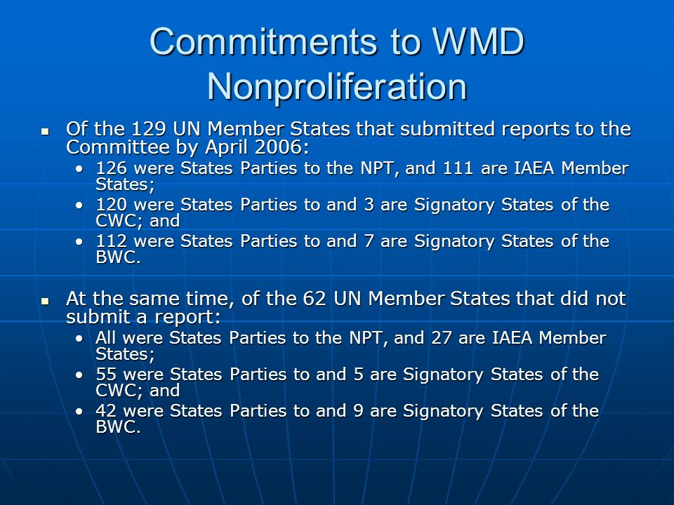 Commitments to WMD Nonproliferation Of the 129 UN Member States that submitted reports to the Committee by April 2006: Of the 129 UN Member States that submitted reports to the Committee by April 2006: 126 were States Parties to the NPT, and 111 are IAEA Member States;126 were States Parties to the NPT, and 111 are IAEA Member States; 120 were States Parties to and 3 are Signatory States of the CWC; and120 were States Parties to and 3 are Signatory States of the CWC; and 112 were States Parties to and 7 are Signatory States of the BWC.112 were States Parties to and 7 are Signatory States of the BWC.