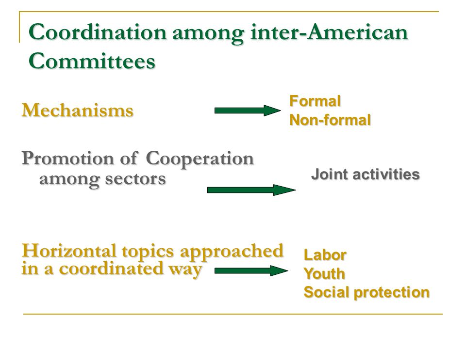Coordination among inter-American Committees Mechanisms Promotion of Cooperation among sectors FormalNon-formal Joint activities Horizontal topics approached in a coordinated way LaborYouth Social protection