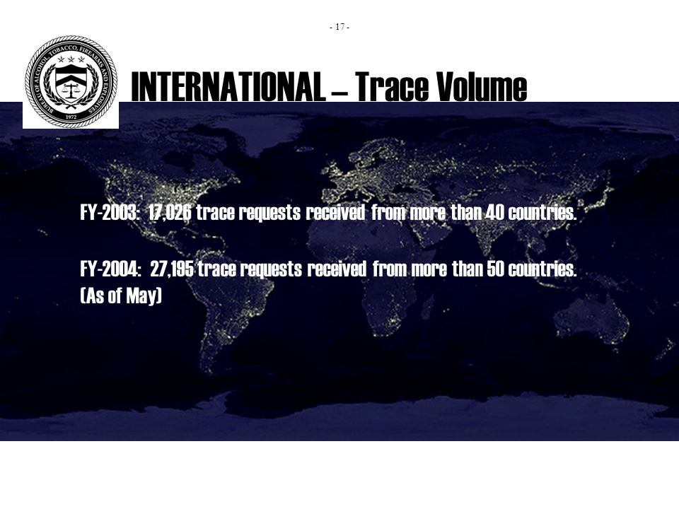 INTERNATIONAL – Trace Volume FY-2003: 17,026 trace requests received from more than 40 countries.
