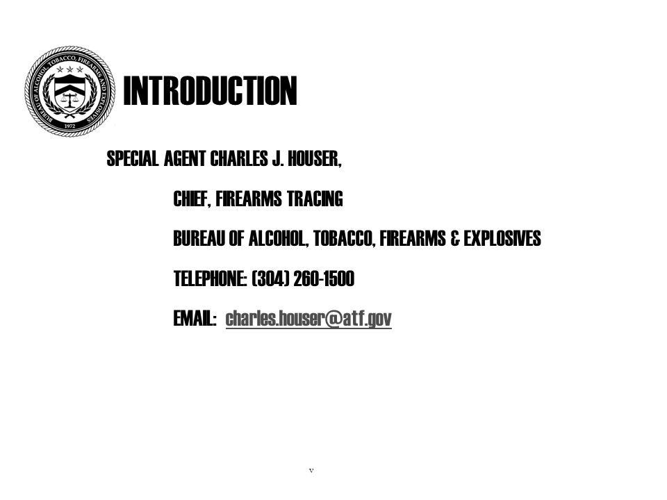 INTRODUCTION SPECIAL AGENT CHARLES J.
