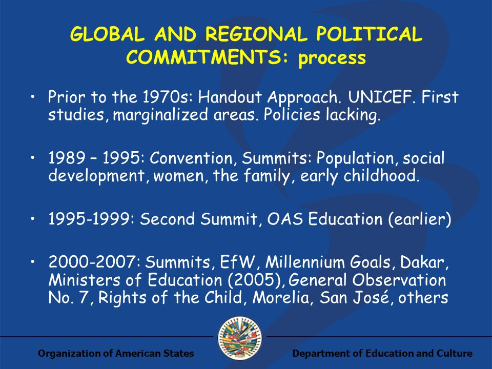 Department of Education and CultureOrganization of American States GLOBAL AND REGIONAL POLITICAL COMMITMENTS: process Prior to the 1970s: Handout Approach.