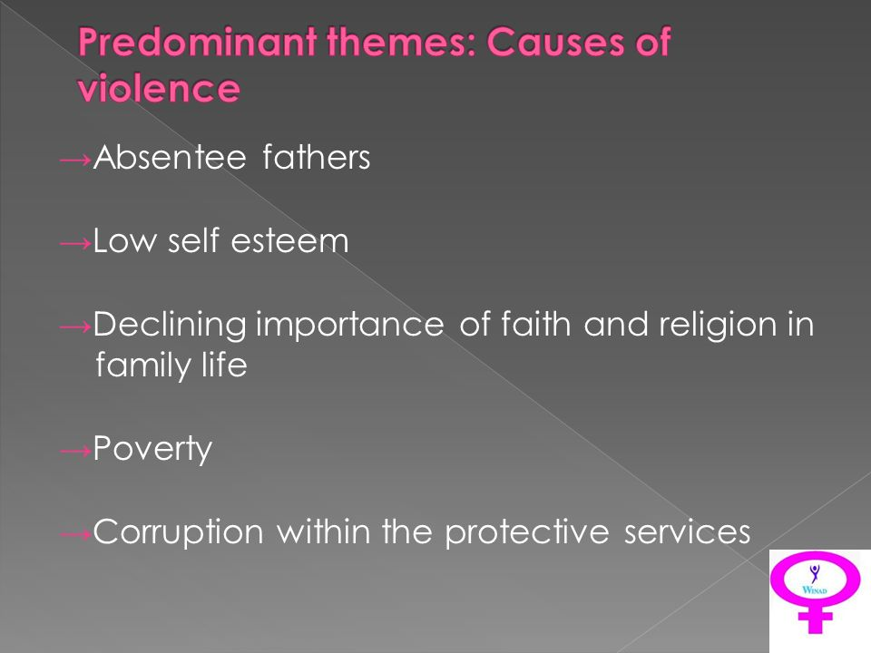 Absentee fathers Low self esteem Declining importance of faith and religion in family life Poverty Corruption within the protective services