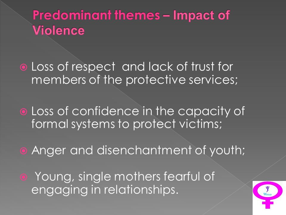 Loss of respect and lack of trust for members of the protective services; Loss of confidence in the capacity of formal systems to protect victims; Anger and disenchantment of youth; Young, single mothers fearful of engaging in relationships.