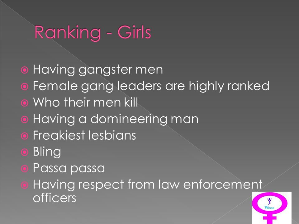 Having gangster men Female gang leaders are highly ranked Who their men kill Having a domineering man Freakiest lesbians Bling Passa passa Having respect from law enforcement officers