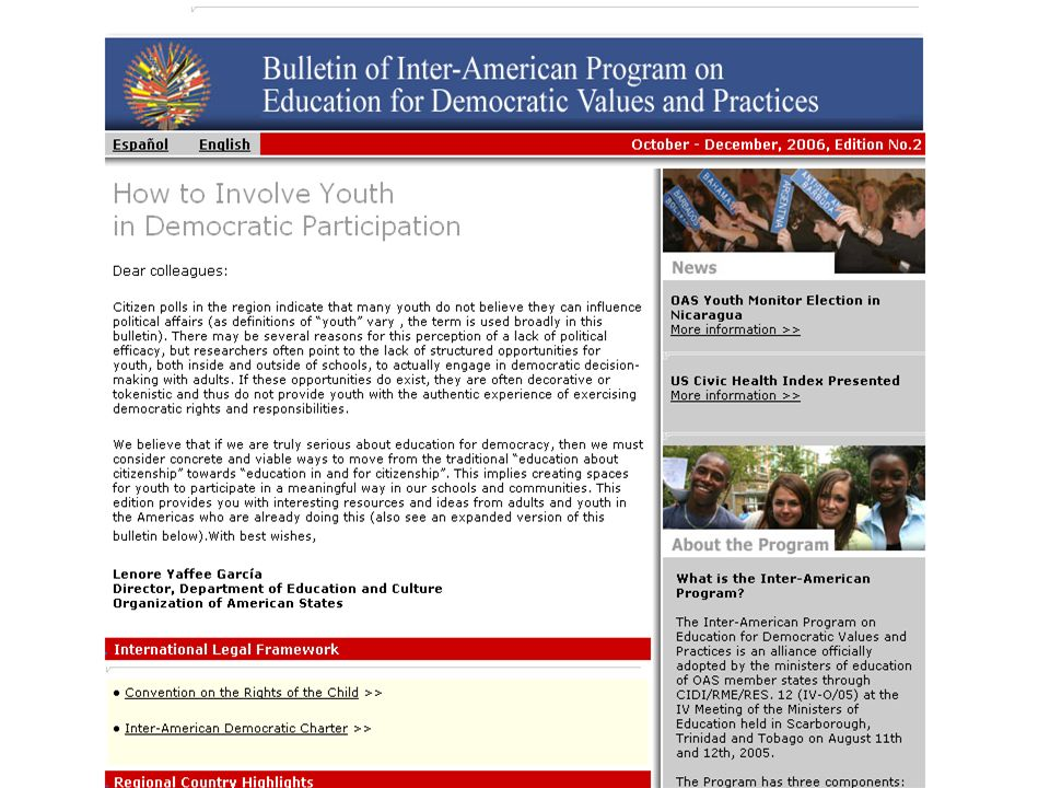 Department of Education and CultureOrganization of American States Democracy Education Bulletins
