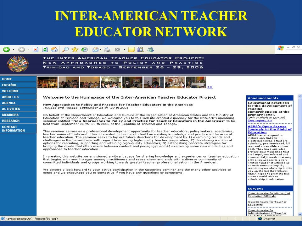 Department of Education and CultureOrganization of American States INTER-AMERICAN TEACHER EDUCATOR NETWORK