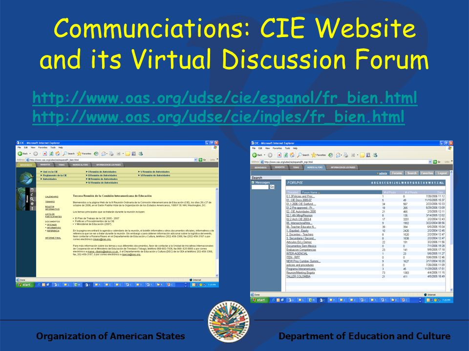 Department of Education and CultureOrganization of American States Communciations: CIE Website and its Virtual Discussion Forum