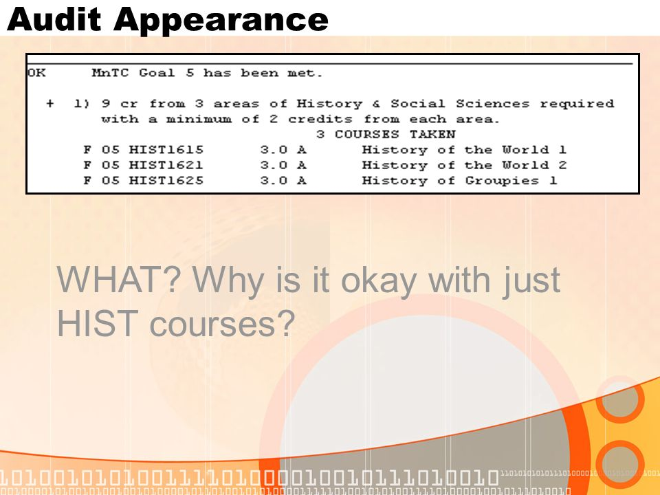 Audit Appearance WHAT Why is it okay with just HIST courses