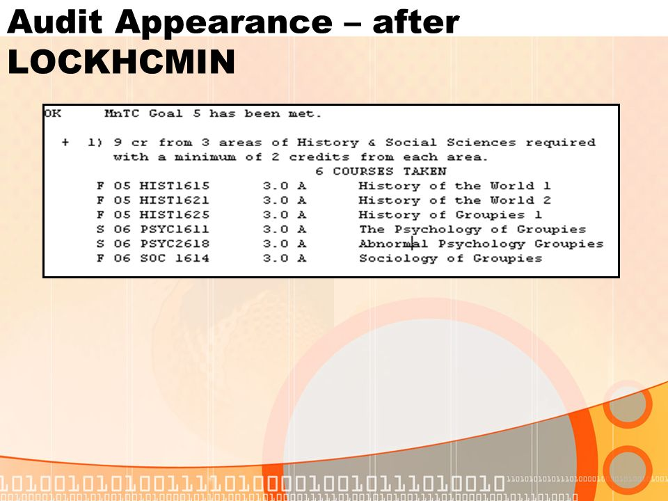 Audit Appearance – after LOCKHCMIN