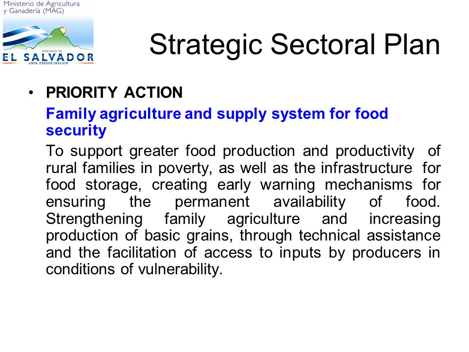 Strategic Sectoral Plan PRIORITY ACTION Family agriculture and supply system for food security To support greater food production and productivity of rural families in poverty, as well as the infrastructure for food storage, creating early warning mechanisms for ensuring the permanent availability of food.