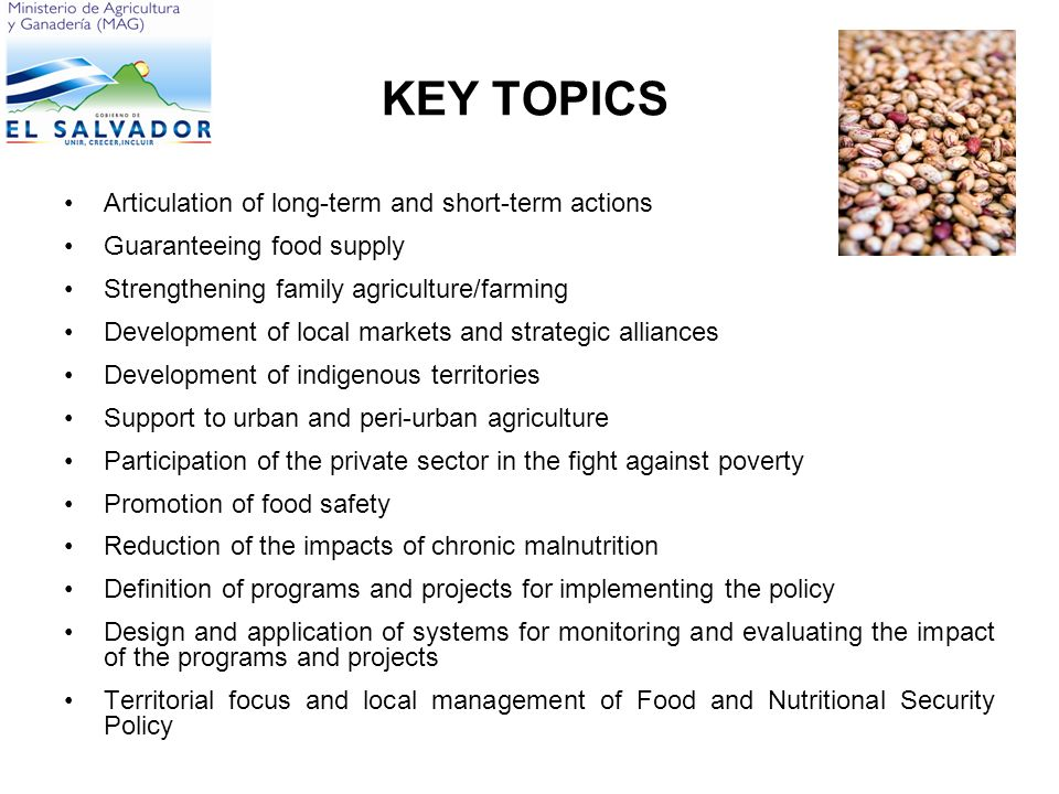 KEY TOPICS Articulation of long-term and short-term actions Guaranteeing food supply Strengthening family agriculture/farming Development of local markets and strategic alliances Development of indigenous territories Support to urban and peri-urban agriculture Participation of the private sector in the fight against poverty Promotion of food safety Reduction of the impacts of chronic malnutrition Definition of programs and projects for implementing the policy Design and application of systems for monitoring and evaluating the impact of the programs and projects Territorial focus and local management of Food and Nutritional Security Policy