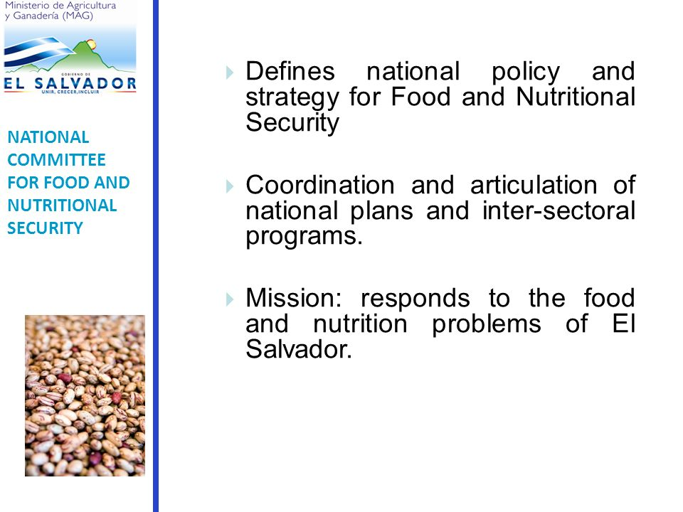 Defines national policy and strategy for Food and Nutritional Security Coordination and articulation of national plans and inter-sectoral programs.