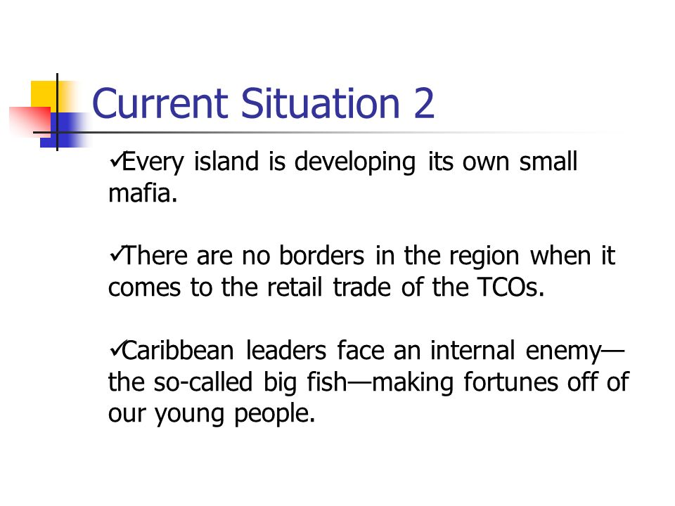 Current Situation 2 Every island is developing its own small mafia.