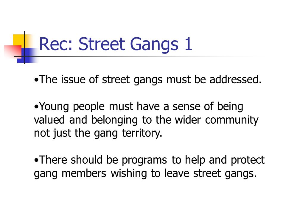 Rec: Street Gangs 1 The issue of street gangs must be addressed.
