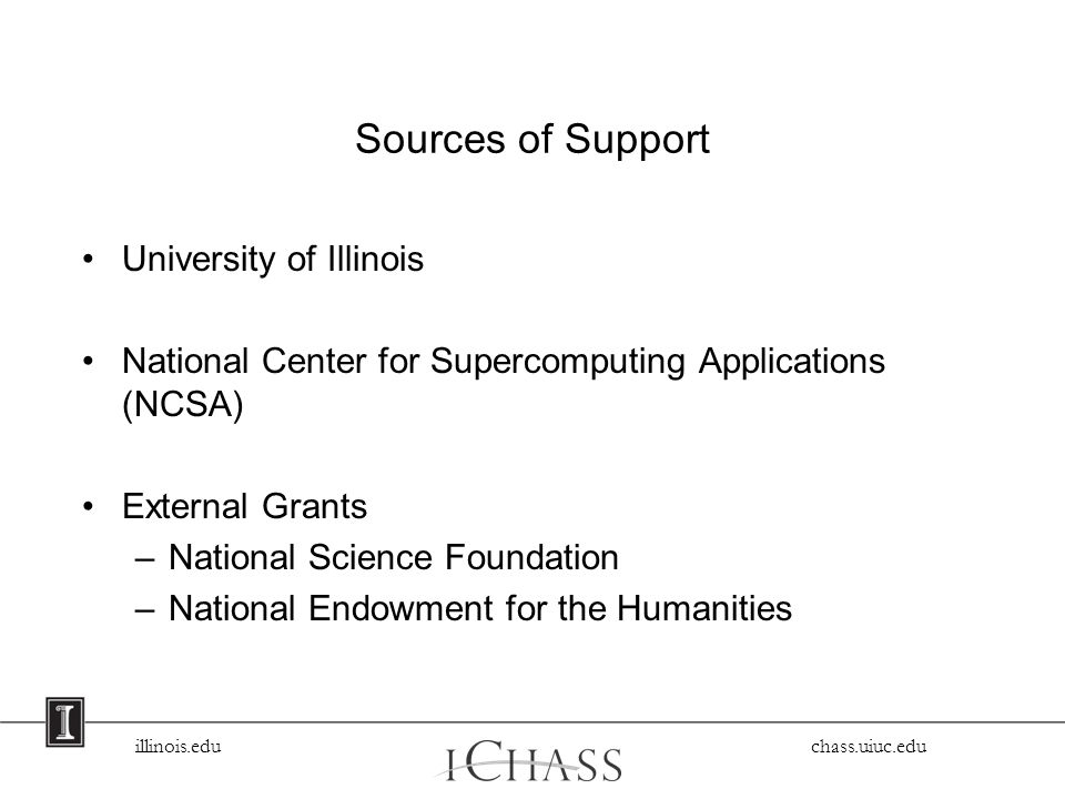 Sources of Support University of Illinois National Center for Supercomputing Applications (NCSA) External Grants –National Science Foundation –National Endowment for the Humanities
