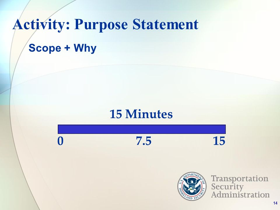 Activity: Purpose Statement Minutes Scope + Why