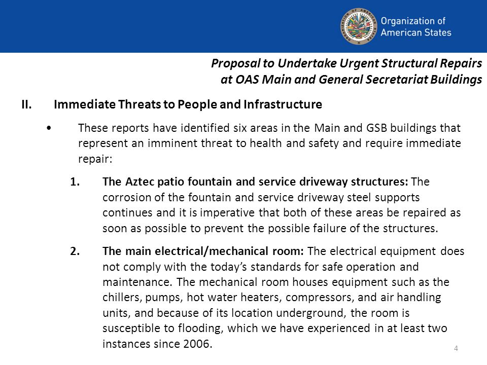 4 II.Immediate Threats to People and Infrastructure These reports have identified six areas in the Main and GSB buildings that represent an imminent threat to health and safety and require immediate repair: 1.The Aztec patio fountain and service driveway structures: The corrosion of the fountain and service driveway steel supports continues and it is imperative that both of these areas be repaired as soon as possible to prevent the possible failure of the structures.
