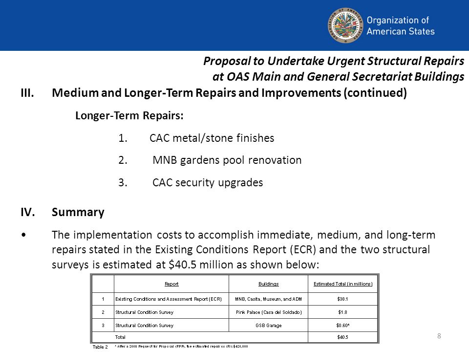8 Proposal to Undertake Urgent Structural Repairs at OAS Main and General Secretariat Buildings III.Medium and Longer-Term Repairs and Improvements (continued) Longer-Term Repairs: 1.CAC metal/stone finishes 2.